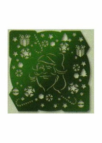 Green Christmas Stencil Tree Bow Bells Gift Holly 01