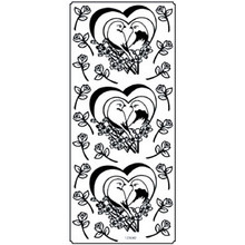 Outline N042 Silver Pair of Doves Peel Stickers