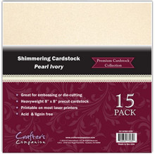 8x8 Shimmering Cardstock Pearl Ivory 15 Sheets Great for embossing and die cutting Crafter's Companion