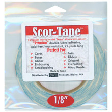 Scor-Tape Premium Double-Sided Adhesive .125inx27yd Roll Acid Free Heat Resistant