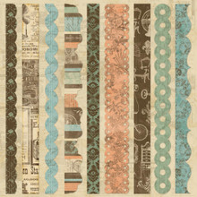 "Grandma's Attic Self-Adhesive Fabric Sheet 12""X12"" Border Strips Vintage STyle & COlors"