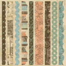 "Grandma's Attic Self-Adhesive Fabric Sheet 12""X12"" Border Strips Vintage STyle & COlors"