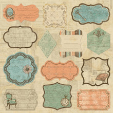 "Grandma's Attic Self-Adhesive Fabric Sheet 12""X12"" Journaling Patch Tags Vintage style & color"