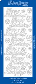 Starform N398 TRANSPARENT SILVER HAPPY BIRTHDAY Outline Peel Sticker