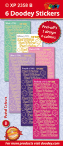 6-Sheet XP2358b PASTEL BEST WISHES Greeting Stickers Set Peel
