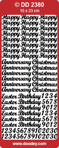 DD2380 Silver Happy Birthday and Various Occasions Peel Stickers One 9x4 Sheet