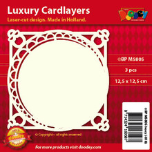 Luxury Cardlayers 3pc Offset Circle Layer Ivory 12.5x12.5cm Laser-Cut Card