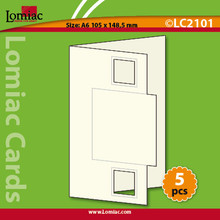 Lomiac Die-Cut A6  GreenSquare Cards 5pc Card-Making
