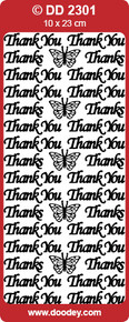 DD2301 Multi-Color Thank You Peel Stickers One 9x4 Sheet