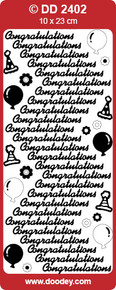 DD2402 Gold Congratulations Peel Stickers One 9x4 Sheet