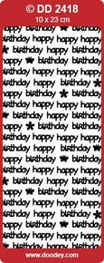 DD2418 Doodey Silver Happy Birthday Stickers Peel Outline