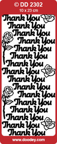 DD2302 Doodey Gold Thank You Stickers Peel Outline