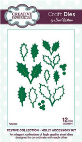 Sue Wilson Craft Dies Festive Collection Holly Accessory Kit CED3014
