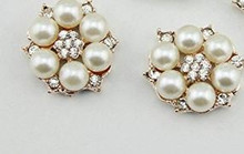 2 Pearl & Rhinestone Buttons 28mm Flat Back No Shank No Holes