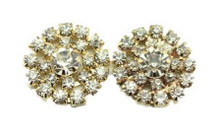 2 Flat Back Clear Rhinestone Cluster GOLD Lg Center Buttons 20mm No Shank