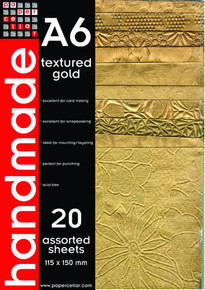 PaperCellar A6 Textured Gold Handmade Papers 20 Assorted Sheets