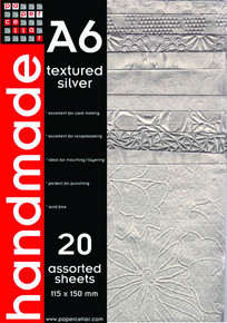 PaperCellar A6 Textured Silver Handmade Papers 20 Assorted Sheets