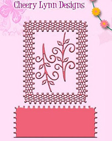 Cheery Lynn Designs DL137AB Japanese Lace & Flourish Frame with Angel Wing 3 ...