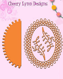 Cheery Lynn Designs DL136AB Japanese Garden Lace Oval with Angel Wing 3 and V...