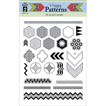 Hot Off The Press Acrylic Stamps, 6 by 8-Inch Sheet, Happy Patterns