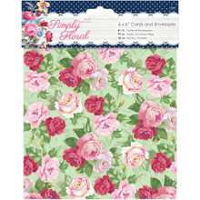 docrafts Papermania Simply Floral Cards with Envelopes, 6 by 6'