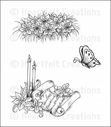 Heartfelt Creations Cling Rubber Stamp Set 5'X6.5'-Butterfly and Lilies