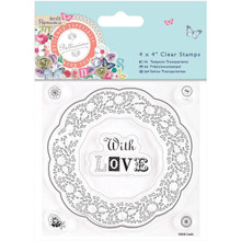 docrafts Papermania Bellissima Clear Stamps, 4 by 4', Doily Frame