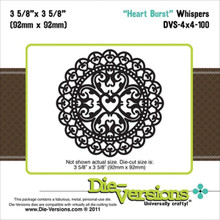 Die-Versions Whispers Heart Burst Scrapbooking Die Cuts DVS-4X4-100