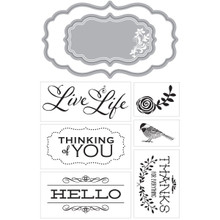Momenta Stamp and Die Set, Live Life, Hello 24665 R6
