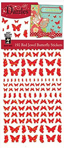 Dazzles Red Jewel Butterflies HOTP2544 192 Holographic Butterflies Per Sheet