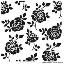 Hot Off the Press Rosebuds 6x6 Stencil