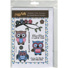 Debbi Moore Designs Owl Shabby Chic Stamp Set, Clear