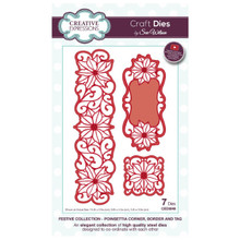 Sue Wilson Festive Collection - Poinsettia Corner, Border Craft Die CED3048