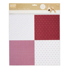 "Self-Adhesive Fabric Paper Hearts & Dots 12x12"" - 1 Sheet"