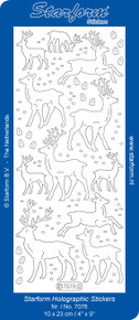 Starform Reindeer Glitter TRANS Gold Stickers N7076 Outline Peel