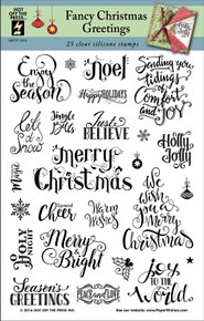 HOTP Fancy Christmas Greetings Rubber Stamps 1215 Unmounted