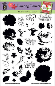 HOTP Layering Flowers Rubber Stamps 1213 Unmounted