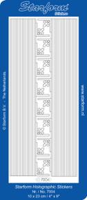 Starform N7004 TRANS GLITTER Silver STRAIGHT-LINE BORDERS CORNERS Outline Peel Stickers