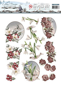 Amy Design Wintertide Winter Flowers 3-D Push Out Paper Tole Die Cut SB10126
