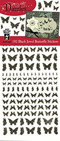 Dazzles Black Jewel Butterflies HOTP2546 192 Holographic Butterflies Per Sheet
