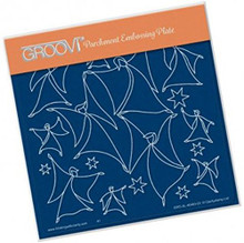 Groovi Parchment Embossing Plate - Angels & Stars A5 - Laser Etched Acrylic f...