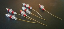 Bow Pins - Small - Red and Crystal on 20ga Gold Pins