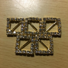 Rhinestone Ribbon Slider Charm 18 Stone Gold Diamond-Shape 5pc C2021