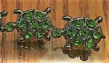 Rhinestone Ribbon Slider Charm TURTLE Green on Silver 5pc C2035