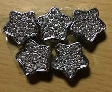 Rhinestone Ribbon Slider Charm Pave'-Style Star Silver 5pc C2018