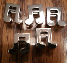 Silver Ribbon Slider Charm Musical Notes - Shape 5pc C2033
