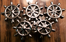 Silver Ribbon Slider Charm Ship's Wheel - Shape 5pc C2029
