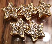 Rhinestone Ribbon Slider Charm Star Gold Silver 5pc C2038