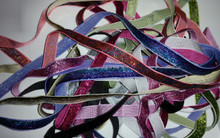 "9-Yards of 3/8"" Glitter Velvet Sparkly Ribbon - One yard each of 9 Assorted Colors"