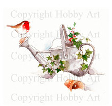Hobby Art Foam Mounted Watering Can Robin FMRWC04F
